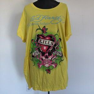 Ed Hardy Love Kills Slowly Skull Heart T Shirt 3X